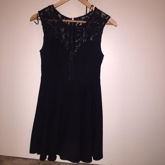Black Half Lace Party Dress