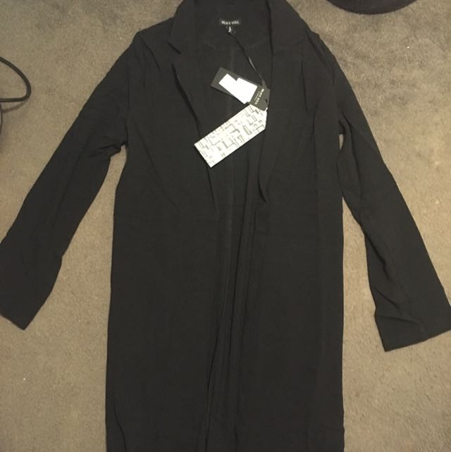 Boohoo Brave Soul Eleanor Longline Tailored collar Black Duster Coat Shawl Cardigan