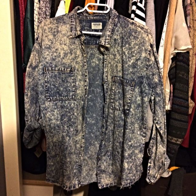 Garage Button Up Acid Wash Shirt