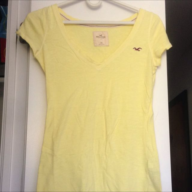 Hollister Yellow V Neck