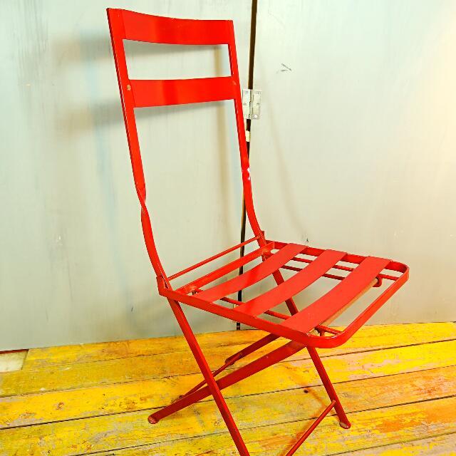 免運費-美國鐵製老折疊椅/戶外椅/公園椅-工業風/鄉村風/IKEA 可參考