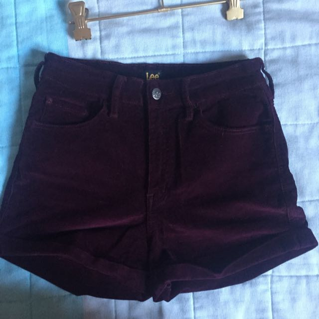 Lee Burgundy Corduroy Shorts Size 10 High Waisted