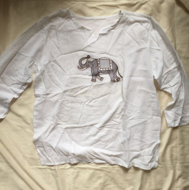 Long Sleeves With Elephant Embroidery
