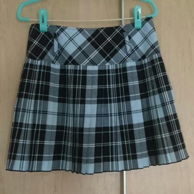 [全新]MA TSU MI 水藍格紋學生裙
