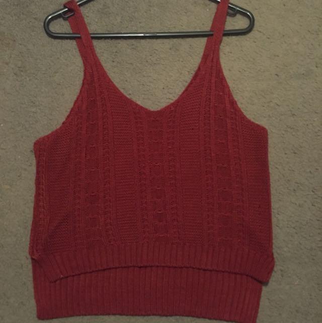 Maroon Red Deep Knit Knitted Singlet Top Tank Scrappy Strap Low Long Hem