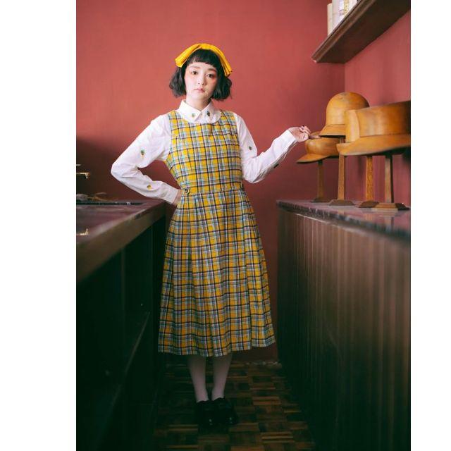 paishop 格子 背心 連身裙 洋裝