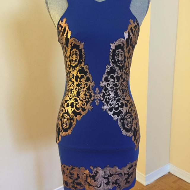 Royal Blue Cocktail Dress With Gold Paining