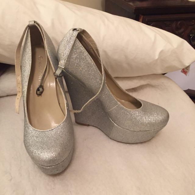 Silver Glitter Wedge Heels