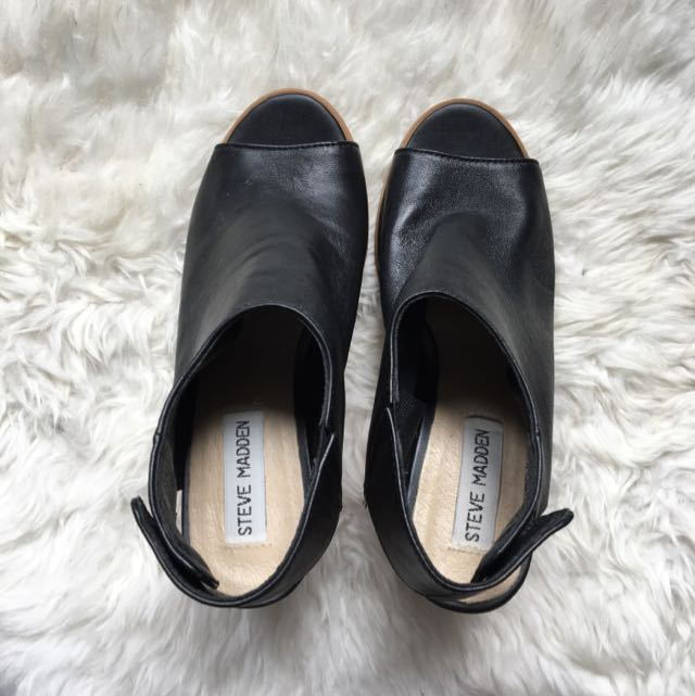 Steve Madden Black Leather Heels