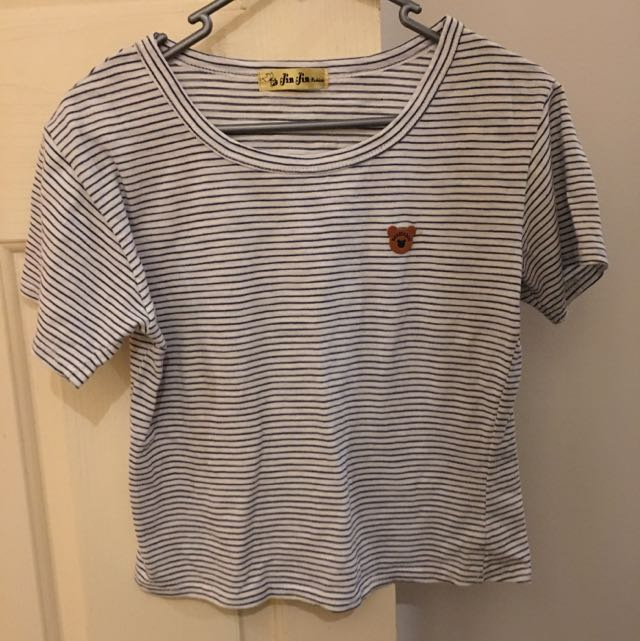 Striped Crop Tee With Bear Logo