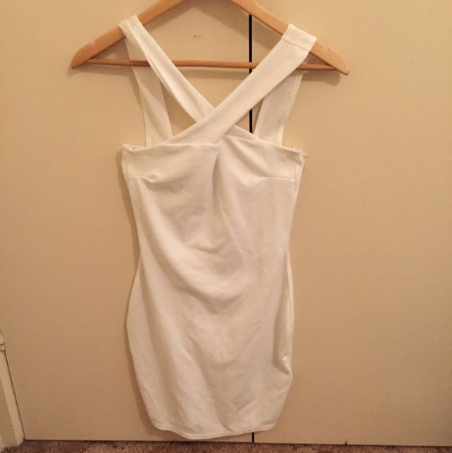 White Cross Over Party Dress