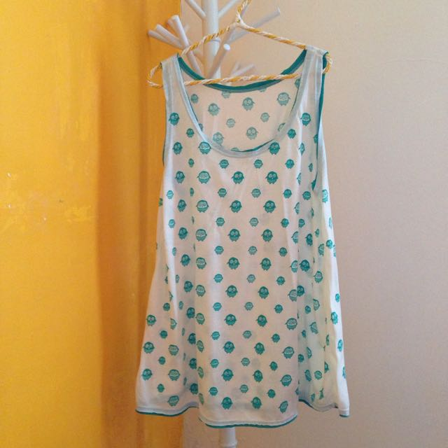 White Tanktop With Owl Details