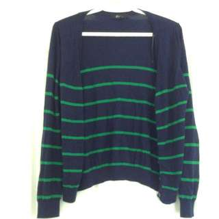 F21 Blue And Green Striped Cardigan