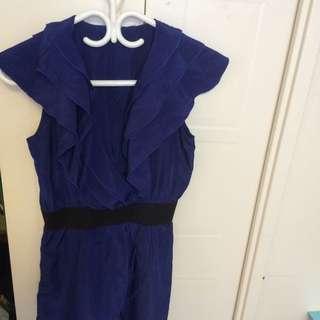 Blue Silk Dress Size: S