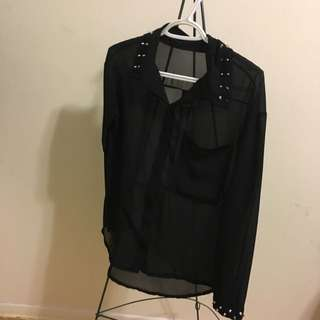 Blouse With Studs On Collar