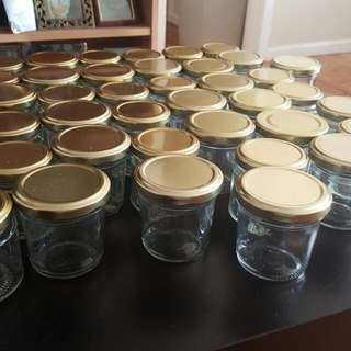 33x New Small Jars With Gold Lid
