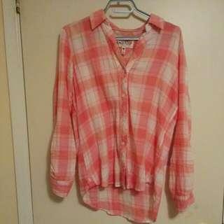 Krazy Kal Size S Pink Plaid Shirt