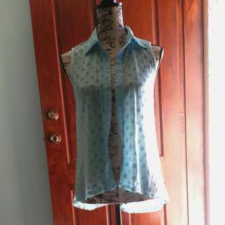 PAPER SCISSORS Ice Blue Mesh Button Up W/ Faux Polka Dots