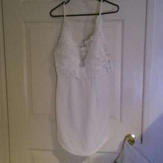 Size 12 Dress White With Lace Trimming