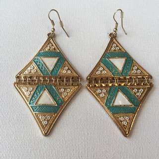 Funky Turquoise And Gold Costume Earrings