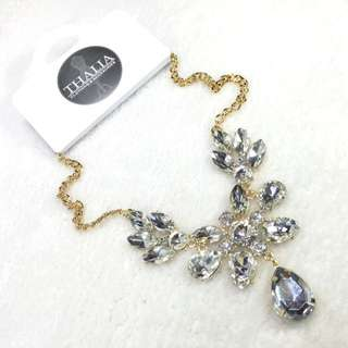 Silver Crystal Statement Necklace CC-60