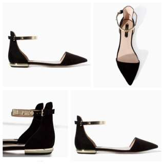 Zara Pointed Flats in Black