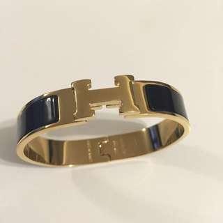 Hermes H Bracelet Replica Black &gold