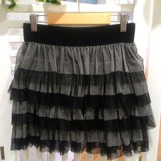 Multi Layer Black & Grey Short Skirt