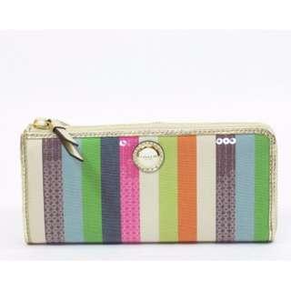 Coach Limited Edition Julia Legacy Stripe Slim Zip Wallet