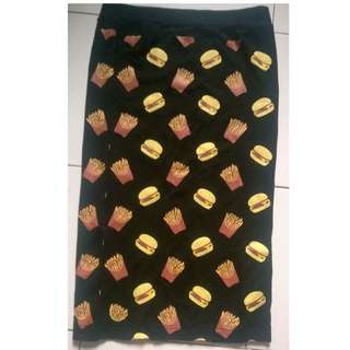 Burger and Fries Pencil Skirt