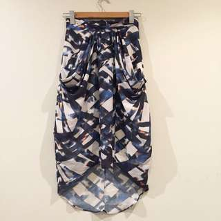 Printed Geometric Blue Drape High waisted Skirt Size 6