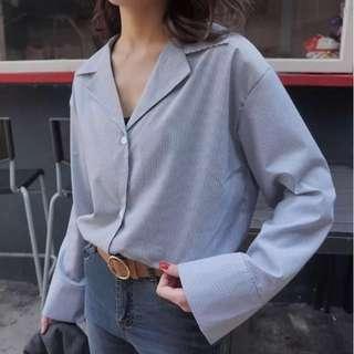 直條紋 V領 襯衫