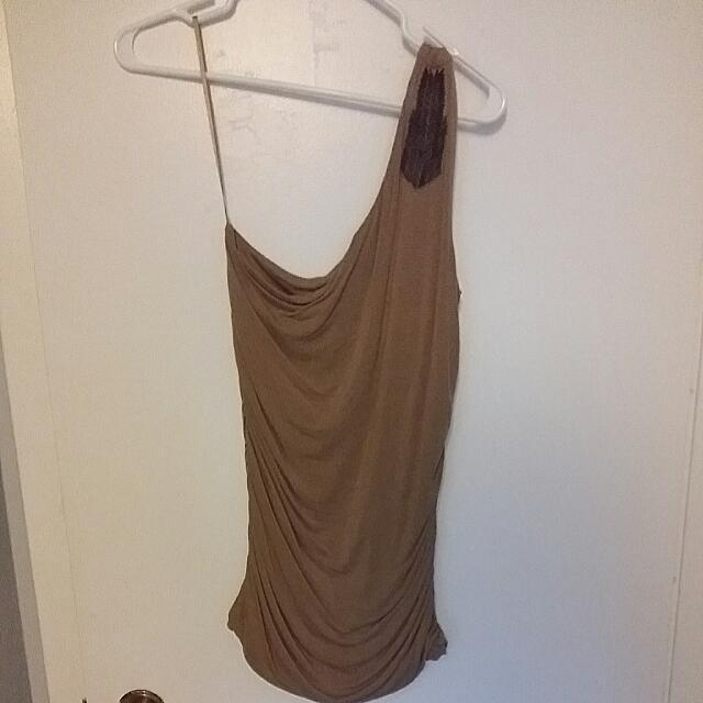 1 Shoulder Tan Beaded Shirt