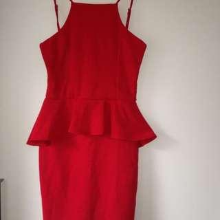 Valley Girl Red Peplum Dress