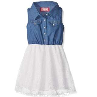 7bdc2079fcb Girls  Chambray Button Front with White Lace Lined Skirt Dress 2-5 Years Old