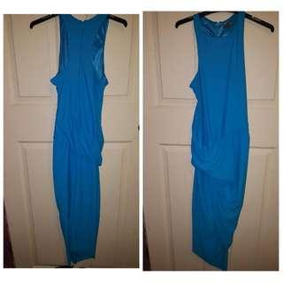Baby Blue Midi Dress With Split