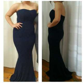 Navy Portia And Scarlett Lace Gown With Little Trail