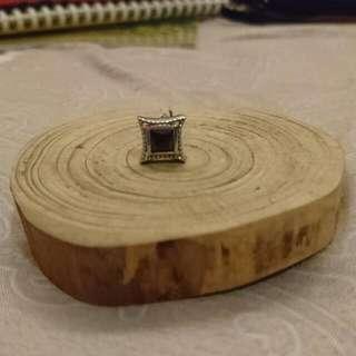 黑色方形 方塊 不鏽鋼耳環