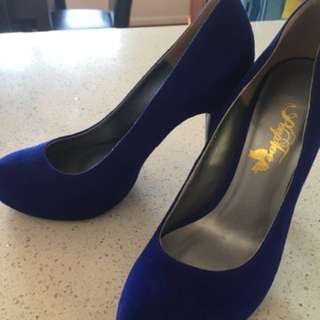 Peep Toe Blue High Heels - size 37