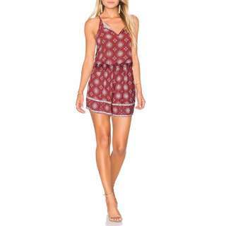 Burgundy Jumpsuit Romper Playsuit Singlet Straps Deep V Lace Up Gypsy Print sz 6