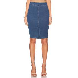Blue Denim High Waist Jeans Skirt Pencil Tube Stretch Bodycon Midi Knee size 6
