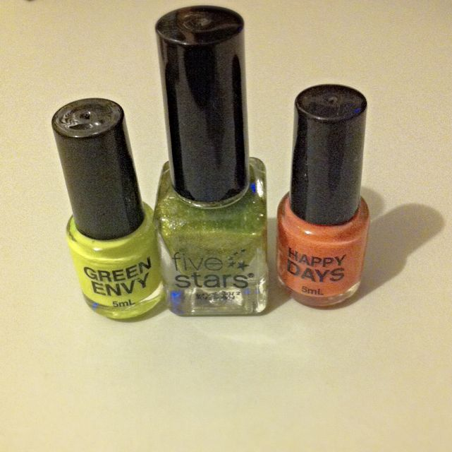 3 Colours Nail Polish - Kmart Brand And Five Stars