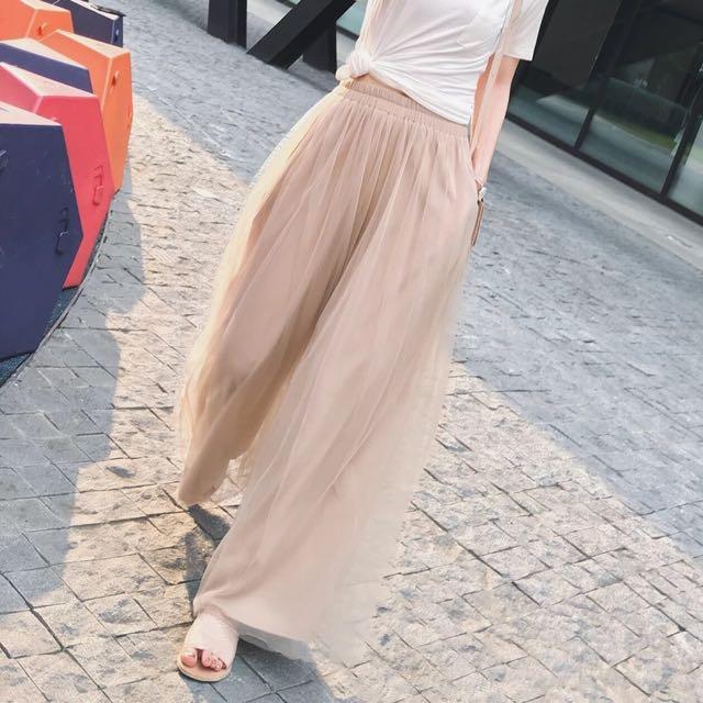 👑超美飄逸雙層紗紗寬褲