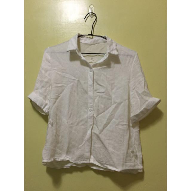 全新棉麻白色短袖襯衫