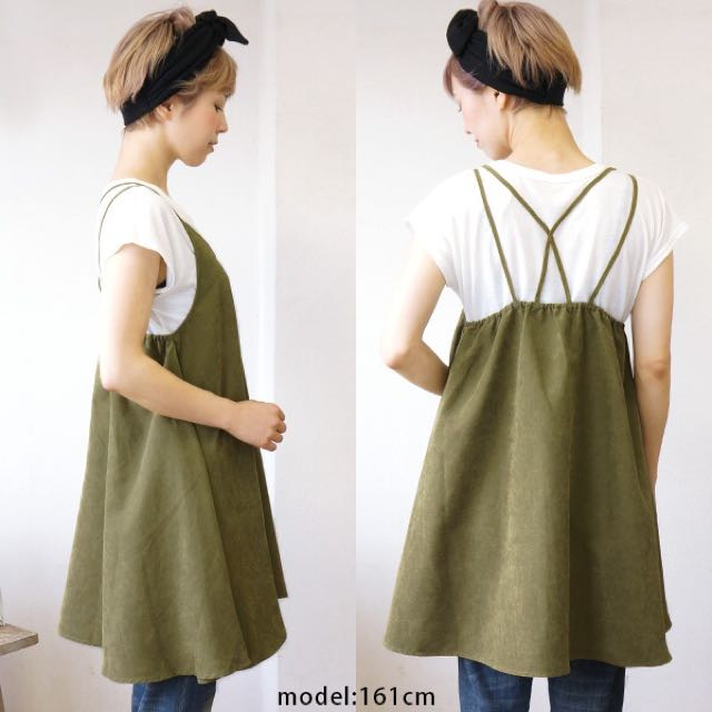 A-line麂絨調細肩帶美背洋裝X素白TEE 背心裙欸