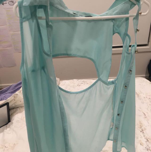 Aqua top With Back Cut