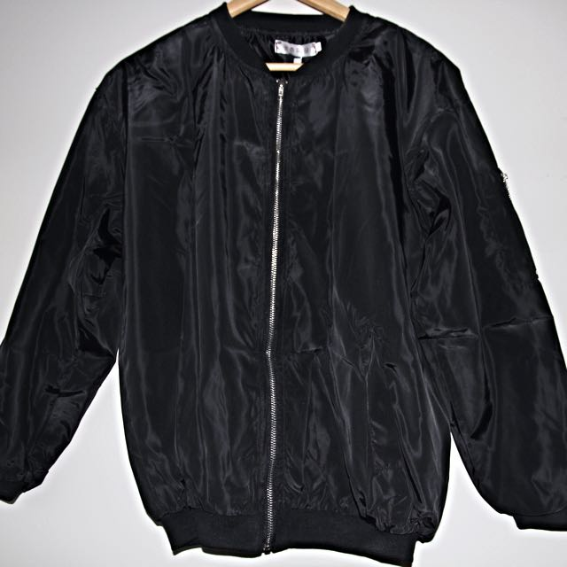 Black Bomber Jacket Spray Material