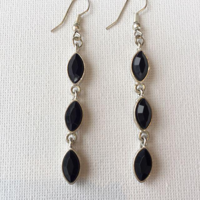 Black Faceted Beaded Earrings