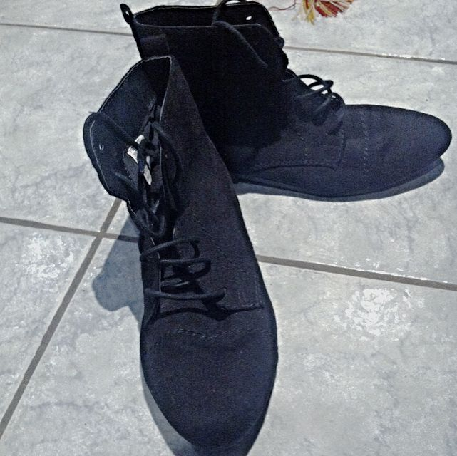 Black Lace Up Ankle Boots - Kmart - Size 8