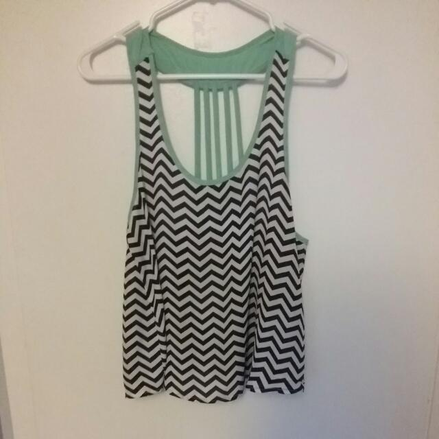 Chevron Top With Teal Accents Stripped Back